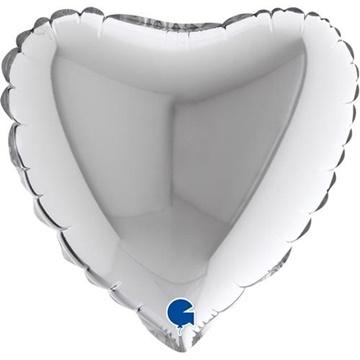 Obrázek Foliový balonek srdce stříbrné 23 cm