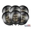 Obrázek z Latexový balonek černý Happy New Year 30 cm - hvězdy
