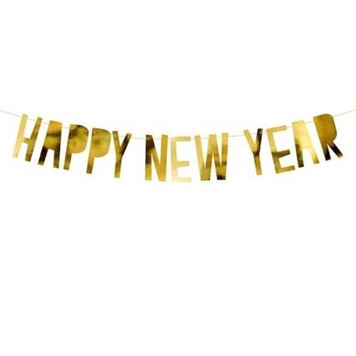 Obrázek z Party nápis zlatý metalický Happy New Year 90 cm