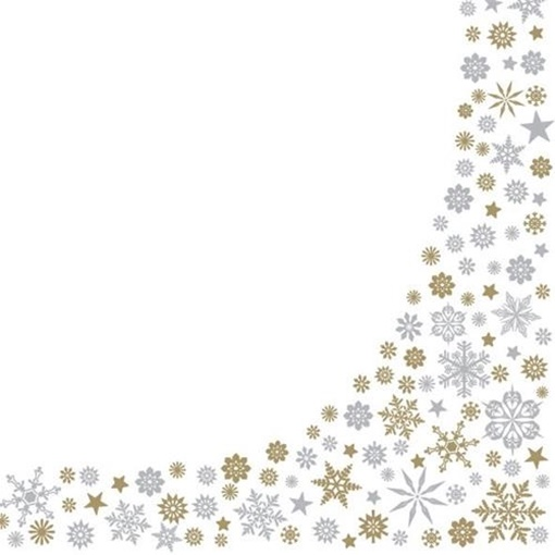 Obrázek z Papírové vánoční ubrousky zlaté a stříbrné vločky  20 ks