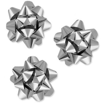 Obrázek Nalepovací hvězdička na dárky stříbrná 13 cm
