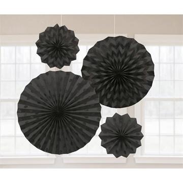 Obrázek Dekorační rozety černé s glitry - 4 ks