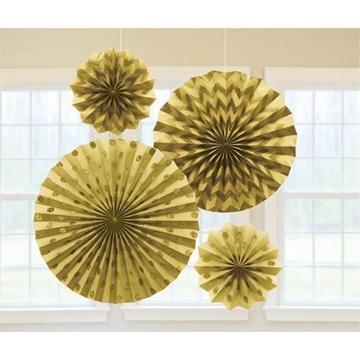 Obrázek Dekorační rozety zlaté s glitry - 4 ks