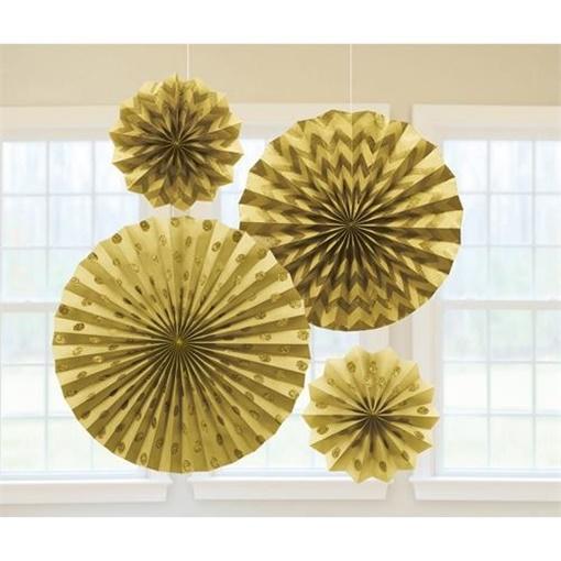 Obrázek z Dekorační rozety zlaté s glitry - 4 ks
