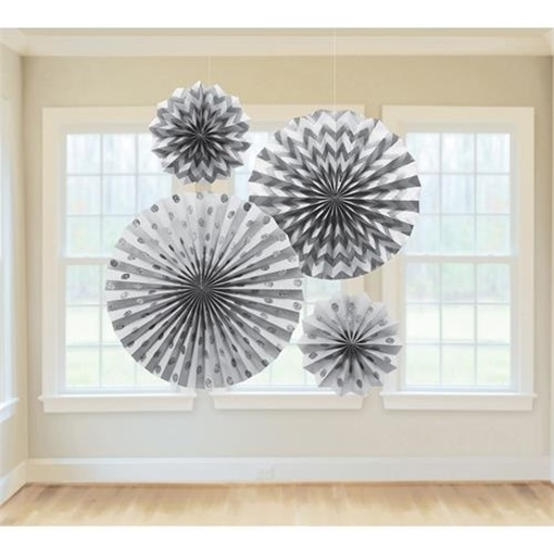 Obrázek z Dekorační rozety stříbrné s glitry - 4 ks
