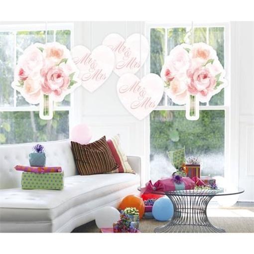 Obrázek z Závěsná dekorac růže Mr a Mrs 5 ks