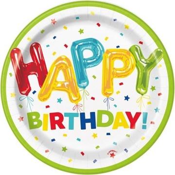 Obrázek Papírové talíře konfetové Happy Birthday 18 cm