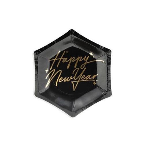 Obrázek z Papírové talířky Happy New Year černé 13 cm
