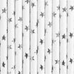 Obrázek z Papírová brčka bílá - stříbrné hvězdičky - 10 ks