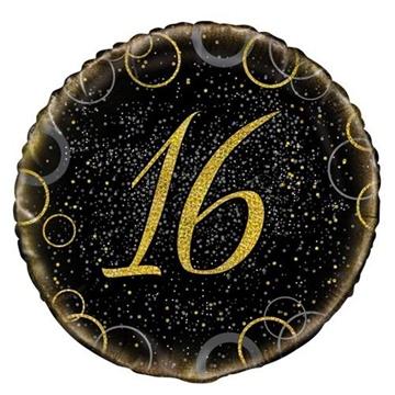 Obrázek Foliový balonek černo-zlatý s číslem 16 - 46 cm