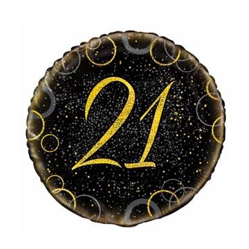 Obrázek Foliový balonek černo-zlatý s číslem 21 - 46 cm
