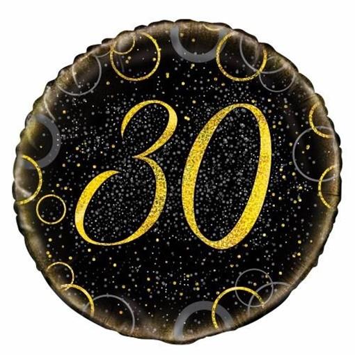 Obrázek z Foliový balonek černo-zlatý s číslem 30 - 46 cm
