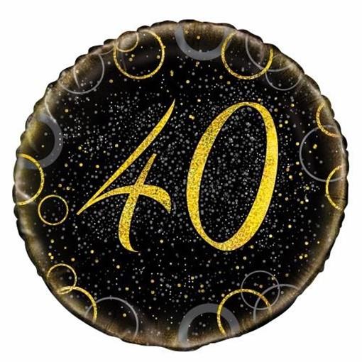 Obrázek z Foliový balonek černo-zlatý s číslem 40 - 46 cm