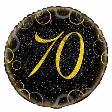Obrázek Foliový balonek černo-zlatý s číslem 70 - 46 cm