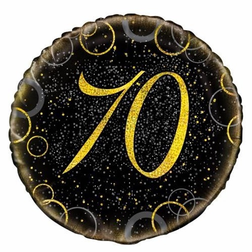 Obrázek z Foliový balonek černo-zlatý s číslem 70 - 46 cm