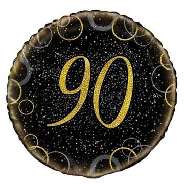 Obrázek Foliový balonek černo-zlatý s číslem 90 - 46 cm