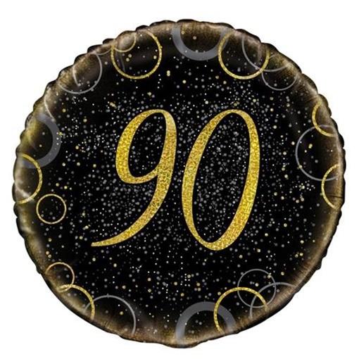 Obrázek z Foliový balonek černo-zlatý s číslem 90 - 46 cm