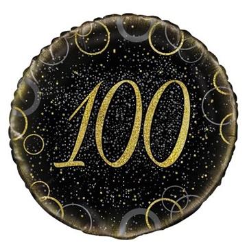 Obrázek Foliový balonek černo-zlatý s číslem 100 - 46 cm