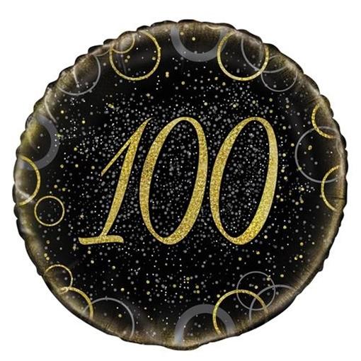 Obrázek z Foliový balonek černo-zlatý s číslem 100 - 46 cm