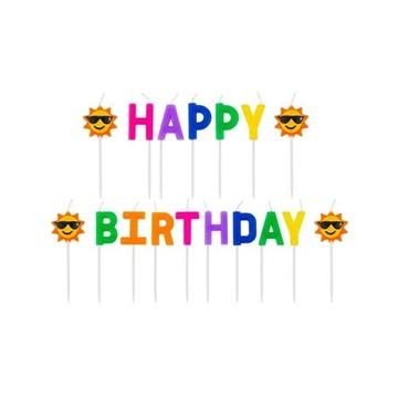 Obrázek Dortové svíčky - nápis Happy Birthday - sluníčko