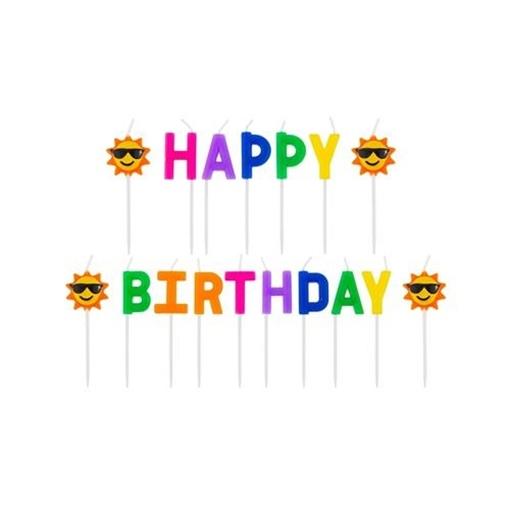 Obrázek z Dortové svíčky - nápis Happy Birthday - sluníčko
