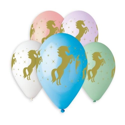 Obrázek z Latexový balonek Jednorožec - zlatý potisk 30 cm