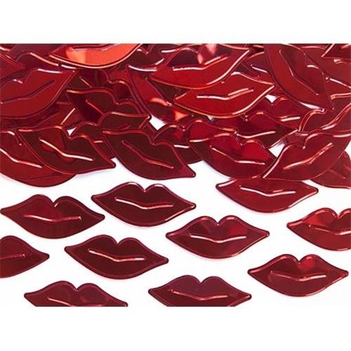 Obrázek z Konfety metalické červené rty 15 g