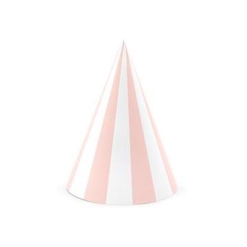 Obrázek Papírové čepičky růžové pruhované 6 ks