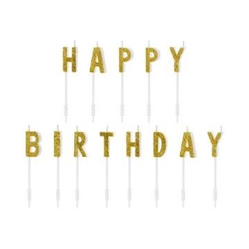 Obrázek Dortové svíčky zlaté s glitrem Happy Birthday 13 ks