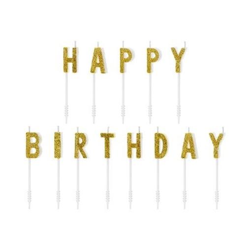 Obrázek z Dortové svíčky zlaté s glitrem Happy Birthday 13 ks