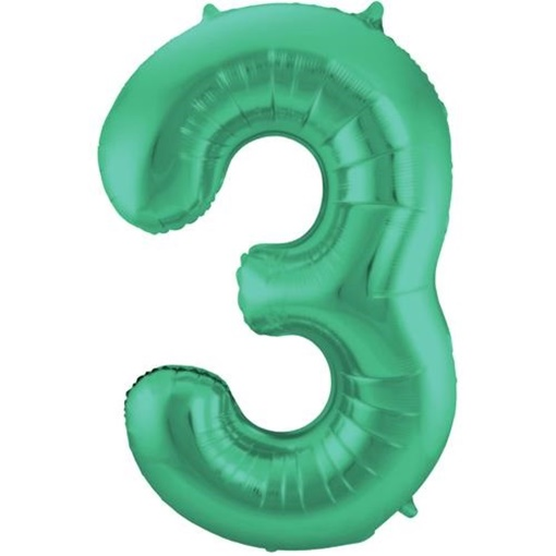 Obrázek z Foliová číslice - saténová zelená 3 - 86 cm