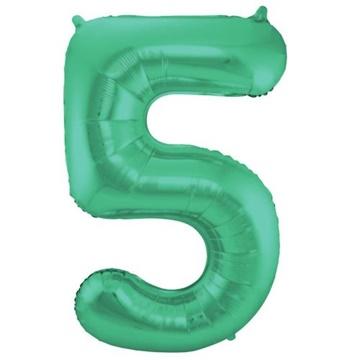 Obrázek Foliová číslice - saténová zelená 5 - 86 cm
