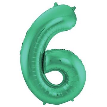 Obrázek Foliová číslice - saténová zelená 6 - 86 cm