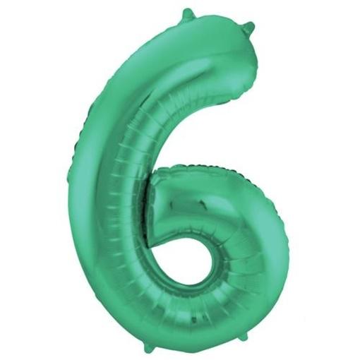Obrázek z Foliová číslice - saténová zelená 6 - 86 cm