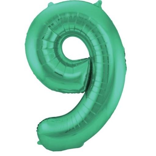 Obrázek z Foliová číslice - saténová zelená 9 - 86 cm