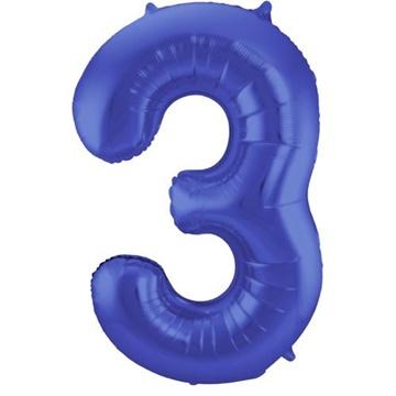 Obrázek Foliová číslice - saténová modrá 3 - 86 cm