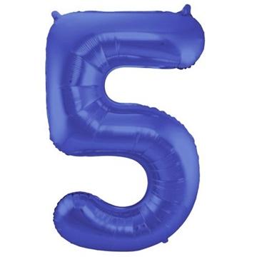 Obrázek Foliová číslice - saténová modrá 5 - 86 cm