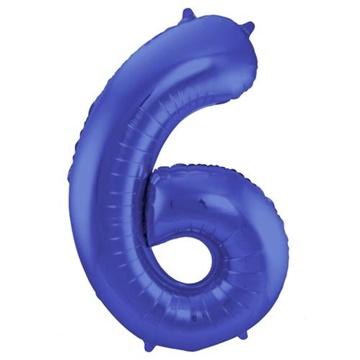 Obrázek Foliová číslice - saténová modrá 6 - 86 cm
