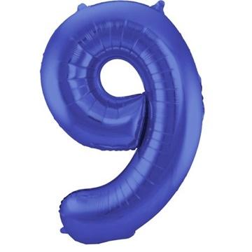 Obrázek Foliová číslice - saténová modrá 9 - 86 cm
