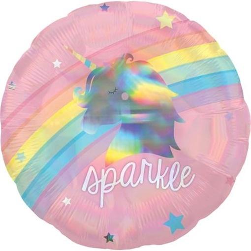 Obrázek z Foliový holografický balonek duhový jednorožec 43 cm