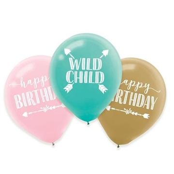 Obrázek Latexové balonky Boho Birthday - 6 ks