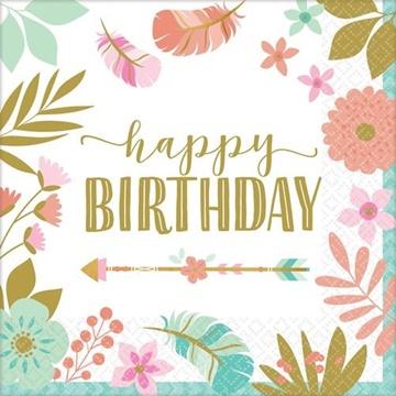 Obrázek Papírové ubrousky Boho Birthday 16 ks