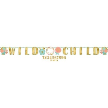Obrázek Party nápis Boho Birthday - Wild child 320 cm