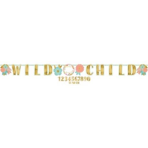 Obrázek z Party nápis Boho Birthday - Wild child 320 cm