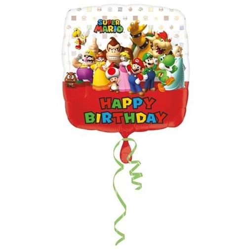 Obrázek z Foliový balonek Super Mario Happy Birthday 43 cm