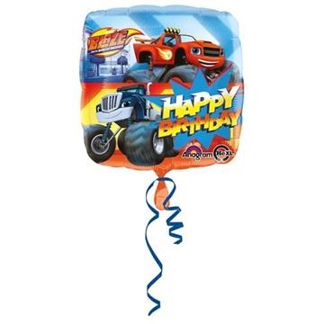Obrázek Foliový balonek Plamínek a čtyřkoláci Happy Birthday 43 cm