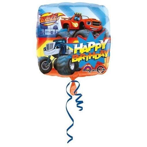 Obrázek z Foliový balonek Plamínek a čtyřkoláci Happy Birthday 43 cm