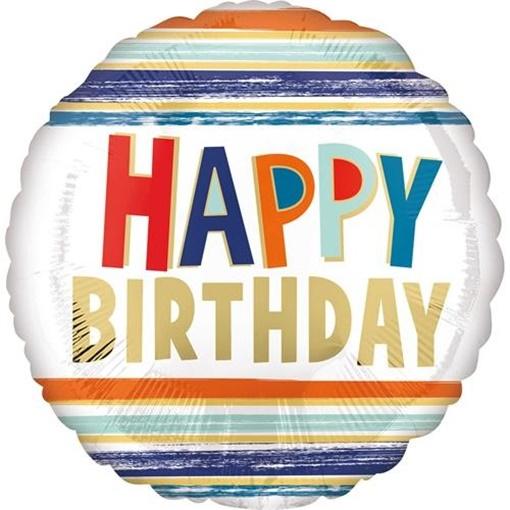 Obrázek z Foliový balonek s pruhy - Happy Birthday 43 cm