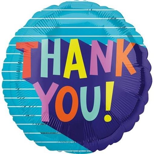 Obrázek z Foliový balonek modrý - Thank you 43 cm