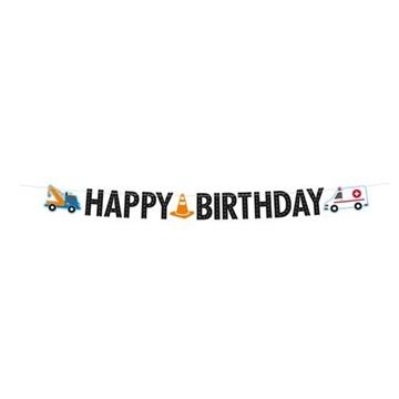 Obrázek Party nápis Dopravní - Happy Birthday 180 cm
